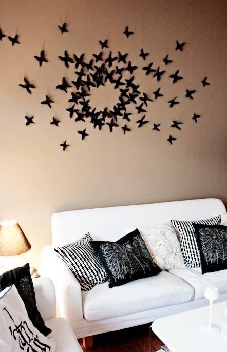 eine selbst gebastelte schmetterlingswand nach einer idee von gott wie peinlich aber wahr. Black Bedroom Furniture Sets. Home Design Ideas