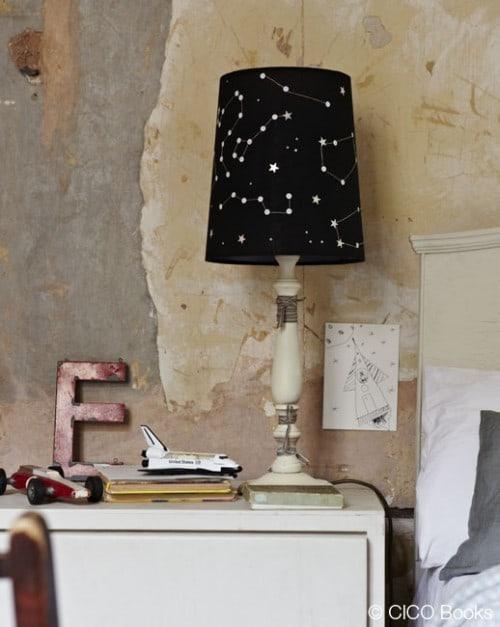 eine lampe mit sternenhimmel eine idee von sania pell aus ihrem neuen buch the homemade home. Black Bedroom Furniture Sets. Home Design Ideas