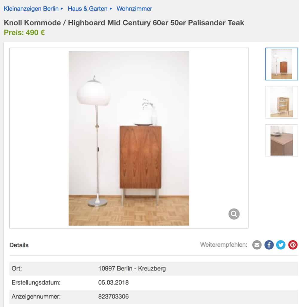 Wie Findet Man Die Besten Designklassiker Auf Ebay Kleinanzeigen